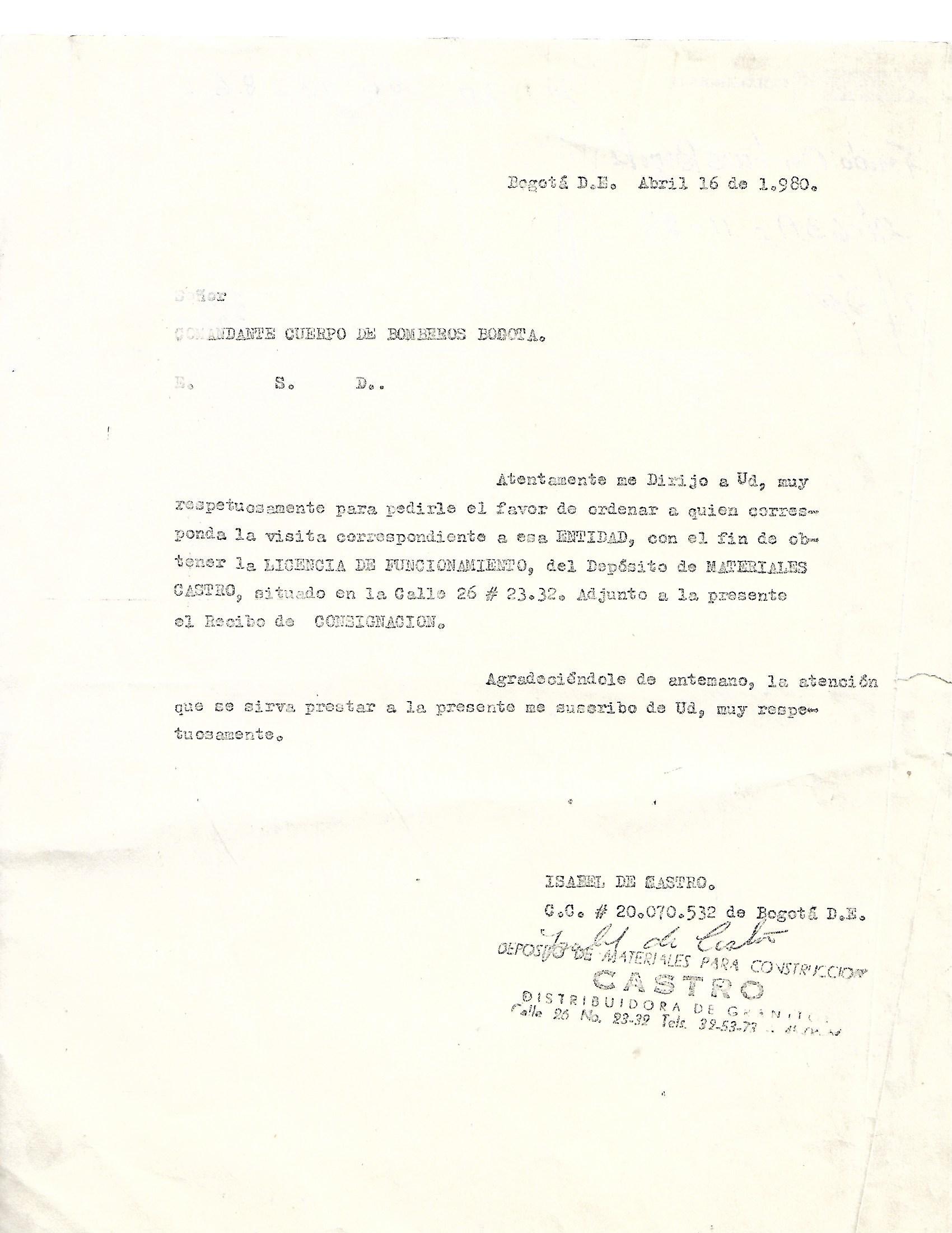 Deposito Castro Historia